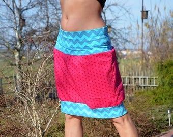Mini skirt, bubble skirt, balloon skirt, wine red, stars