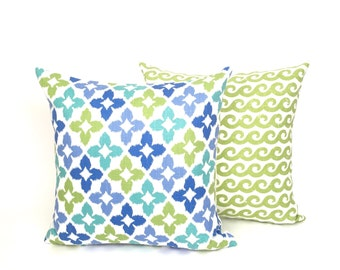 Blue and Lime Green Star Pattern Square Throw Pillow.P-2-183