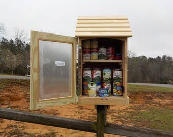 Little Free Pantry, 2 SHELF, weather resistant, assembled, with optional solar light, choose unfinished, painted, or varnished