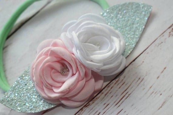 White, pink and mint floral hairband - Baby / Toddler / Girls / Kids Elastic Flower Crown / Hairband / Headband / photo prop /