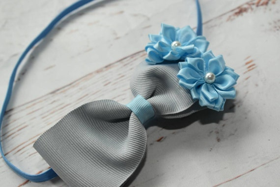 Grey and blue rosette bow - Baby / Toddler / Girls / Kids Elastic Hairclip / Headband / Hairband/ Hair Barrette