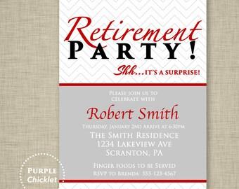 Red Surprise Retirement Party Invitation Farewell Celebration Gray Masculine Birthday Invitation Mans Event Printable Invite 5x7 Digital 7b