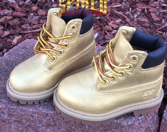 Custom gold toddler timberlands (infant/toddler size 4c READY TO SHIP!!!