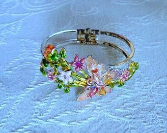 Vintage Butterfly Bangle Bracelet,Enamelded Bangle Bracelet,Butterfly Bracelet,Butterfly Jewelry