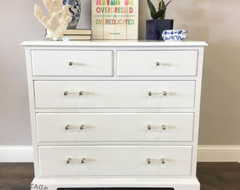 AVAILABLE: White Painted Dresser / Bachelor Chest