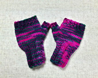 Fingerless Gloves for babys up to 18 M. dark green and purple, mittens wool merino, arm warmers, handknitted