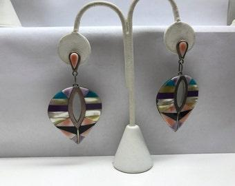Sterling Silver Inlaid Dangle Pierced Earrings