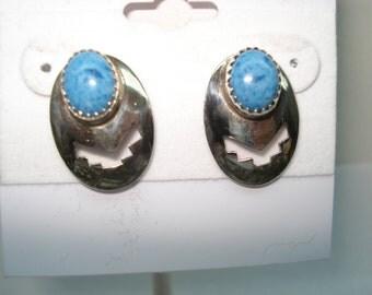 Sterling Silver Denim Lapis Native American Design Pierced Earrings
