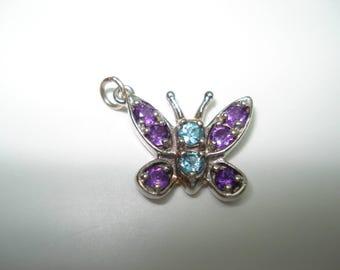 14 Kt White Gold Amethyst Blue Topaz Butterfly Pendant or Charm