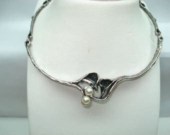 Sterling Silver Modernist Handmade Organic Style Pearl Choker Necklace