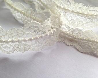 Vintage Style Lace Pearl Ribbon Trim Bridal Wedding x 1 Metre 20mm Ivory
