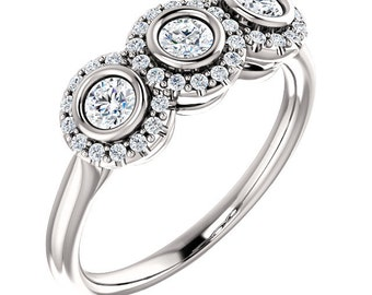 "25% OFF Moissanite ""Forever Brilliant"" Diamond Anniversary Band, 14k white, yellow, rose gold, platinum"