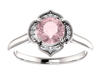 Morganite Diamond  Flower Halo Engagement Ring, Round Gemstone, 14K Gold