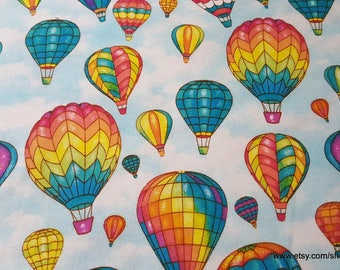 Flannel Fabric - Colorful Hot Air Balloons - 1 yard - 100% Cotton Flannel
