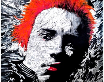 Original BRITISH ICONS Johnny Rotten Johnny Lydon acrylic and oils painting by Andrew Ammons-Mistry