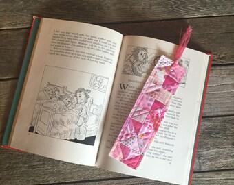 Quilt Block Bookmark, Pink half square pattern