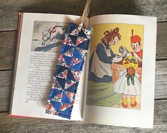 Quilt Block Bookmark, navy fan pattern