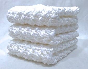 Cotton Crochet Washcloth Set - Blizzard