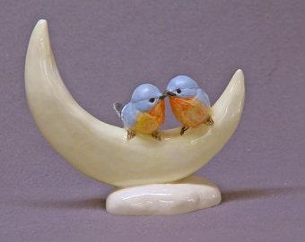 Handmade Ceramic Blue Love Birds on the moon  - Bird Figurine, Bird Sculpture, Ceramic Art, Wedding, Valentine's Day