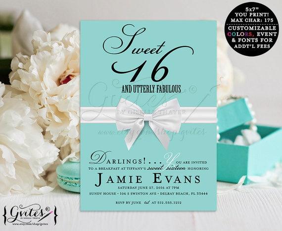 Sweet 16 Invitation. Breakfast birthday printable invitation, breakfast at co, turquoise blue, 16th birthday invitation, digital {You Print}