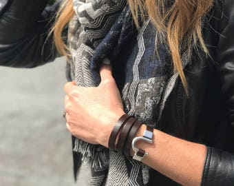 Dark Brown Leather Wrap Bracelet with Antique Silver Clasp