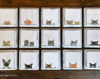 Coasters, 4 per set, Cat Coasters, handmade decoupage and paint.