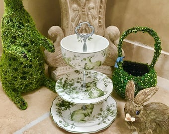 "3 Tier Cake Stand, ""Green Toile Bunny Tier"" for Cupcakes, jewelry, sweets, savories, soaps, keys etc."