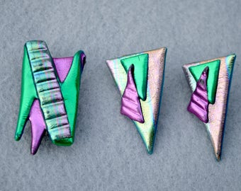 Geometric Design Neon Brooch and Earrings Vintage