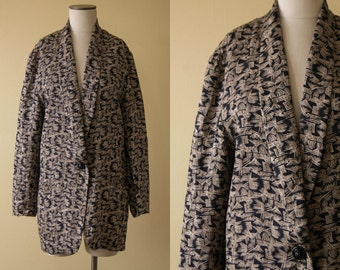 SALE / vintage 1980s jacket/ 80s printed silk blazer / one size
