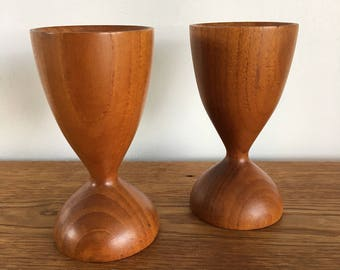 Beautiful Pair Of Solid Teak Candle Holders. FREE SHIPPING