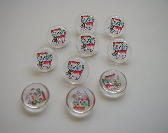 10 Clear Round Cat Buttons