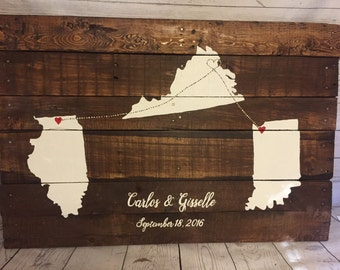 3 State Guest Book, Wedding Guest Book, Rustic Wedding, Guest Book, Alternative, Guest Book Ideas, Custom Guest Book, Personalized,