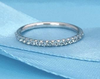 14K Aquamarine Half Eternity Band 1.6mm Aquamarine Infinity Ring 14K Aquamarine Matching Wedding Band 14K Light Blue Birthstone Stacking