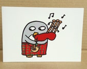 Scottish Penguin Piper Card- Scottish Birthday -blank - for any occasion - Bagpipes -Kilt - A6 size