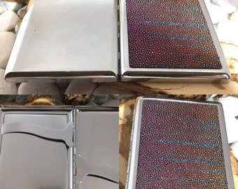 Cigarette Case Exotic Genuine Stingray (holds (10-20) Iridescent Rainbow on Chromed Stainles Steel