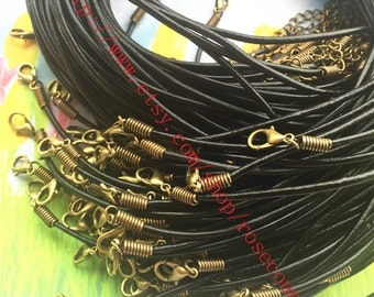 Bronze closure--Wholesale 100pcs 18 inch 2mm Black real leather cord necklace with lobster clasps plus 2 inch extender