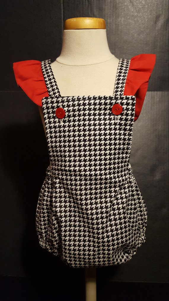 Houndstooth and Red Ruffle Sleeve Romper