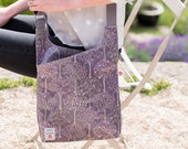 NEW! Bloom Purple Cross-Body Oilcloth Bag / Messenger Bag / Vegan Bags / designed by Susie Faulks / made in England