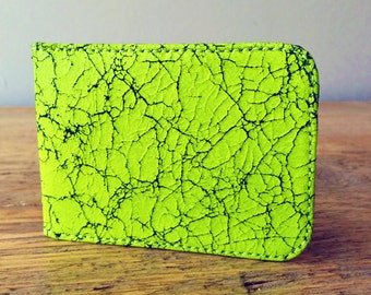 Fluorescent Yellow Leather Card Holder