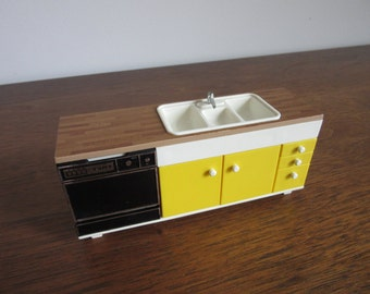 1970's Modern Dollhouse Kitchen, Vintage Yellow Mod Tomy Doll House Countertop,Sink,Dishwasher,Cabinets,Tomy Kitchen,Retro Miniature Storage