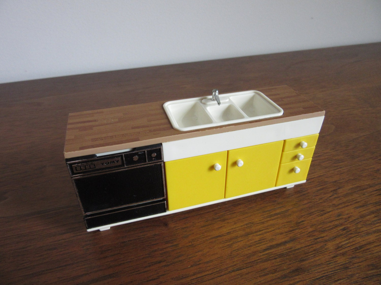 Miniature Dishwasher 1970s Modern Dollhouse Kitchen Vintage Yellow Mod Tomy Doll