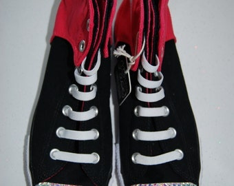 W8 / M6 Unisex black and hot pink high top Converse with AB rhinestones