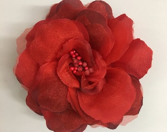 "New Large red flower clip 5"" / bridesmaids hair flower / flower brooch pin / large flower/ spring summer accessories / dance flower hair cli"
