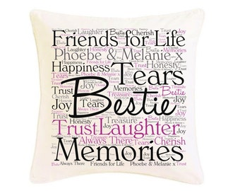 Personalised Friendship Word Art Cushion