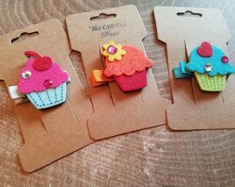 Set of 3. Cupcake hair clips. Felt hair clips. Felt cupcakes. Set of three of hair clips.