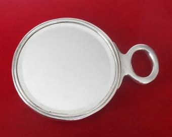 Deco Sterling Silver Round Hand Mirror