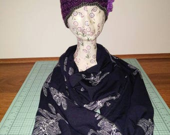 Navy Blue Dragonfly Infinity Scarf