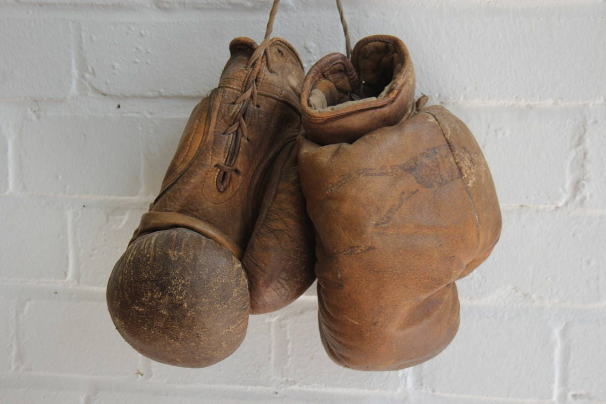Leather & Horsehair Boxing Gloves French Circa 1920's