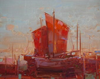Sail Boats, Seascape Oil painting, Impressionism, handmade art, One of a kind