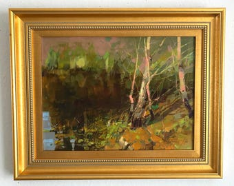 Landscape, Lakeside, Original Oil Painting, Framed Ready to Hang Signed Handmade painting  One of a Kind